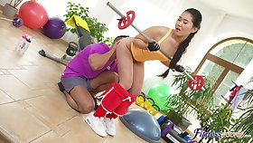 Energized Asian work out together with fucks on tap the same time
