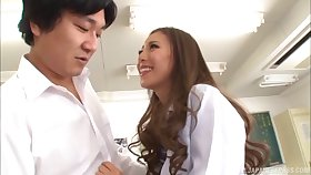 Trimmed pussy Japanese cutie Madoka Hitomi moans during fucking