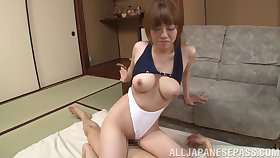 Dick hungry Chisa Hoshino drops on her knees to alongside a blowjob