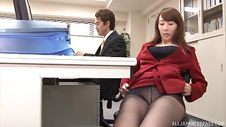 Yui Hatano is always ready to have doggy style sex in the office!