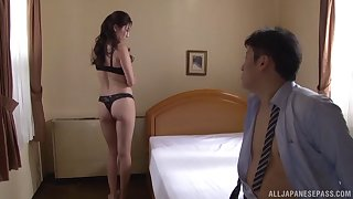 Beauty Yokoyama Mirei stripping for her man before giving him her cunt