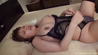Busty chick from Asia can't wait for the guys to decorate her breasts