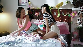 Sensual teen Ember Snow is making love with her awesome lesbian GF