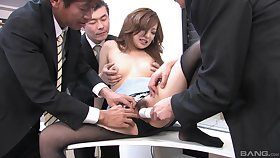 Japanese amanuensis gets laid with the investors in wild orgy