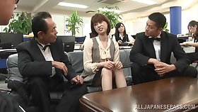 Horny Japanese gets her pussy lip with a hard penis on every side the office