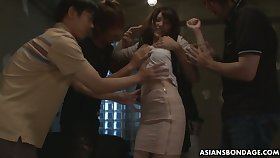 Four students fuck Japanese coed Kanako Iioka and fill her snatch beside cum